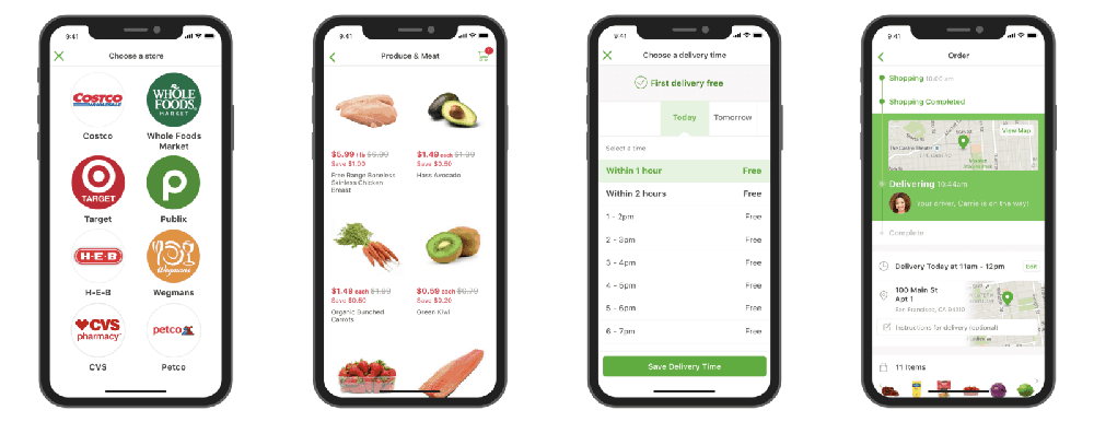 Main grocery delivery app types